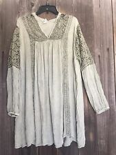 Free Spirit Boho Hippie People Crinkle Gauze Crochet Lace Dress XL NWT