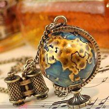 Vintage Globe Earth Telescope Tellurion Enamel Pendant Long Chain Necklace Gifts