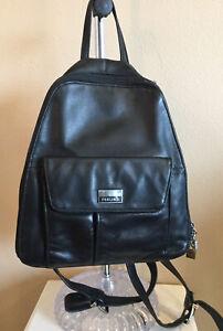 Perlina New York Backpack Purse Black Leather Medium
