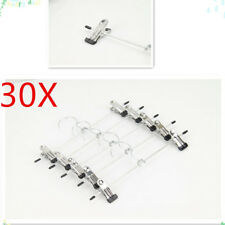 30X Clothes Skirt Adjustable Clip Coathanger Metal Coat Trousers Pant Hanger New