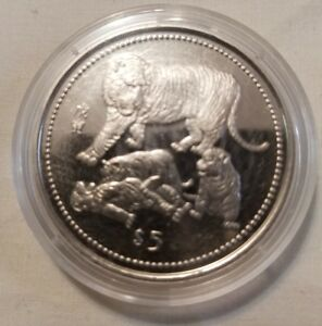 1998 liberia five dollar lunar zodiac year tiger copper nickel crown bu