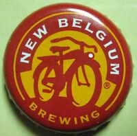 NEW BELGIUM BREWING red yellow Beer CROWN Bottle CAP w/ BIKE Ft Collins COLORADO
