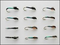 Blakestone buzzers, Trout Flies, 12 Pack Olive & Orange, Size 12/14. Fly Fishing