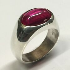 MJG STERLING SILVER MEN'S RING.14 x 10mm OVAL LAB GROWN RUBY CAB. SZ 10.