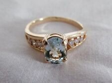 Beautiful Pre-owned Oval Aquamarine & Chanel Set Accent Diamonds Size 5-1/4 Ring