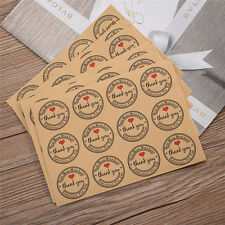 "120pcs Round Kraft Paper Stickers Label Tag with ""Thank You"" + Red Heart Decor"