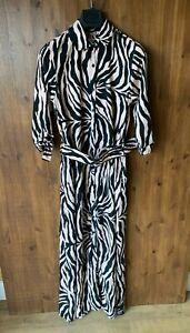 RRP £57 - DANCING LEOPARD DOVE MAXI SHIRT DRESS Black Pink Zebra UK 12-14 - VGC