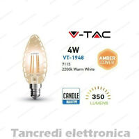 Lampadina led V-TAC 4W = 35W E14 VT-1948 candela filamento lampada vintage ambra