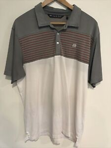Travis mathew Golf Polo Shirt Size XL Grey White