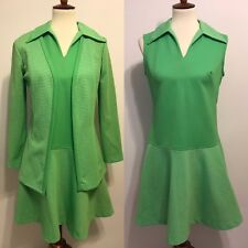Vintage 1960's 1970's Lime Green Chartreuse Gingham Dress With Matching Jacket