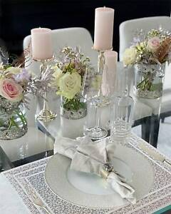 Set Of 4/6/8 Table Place Mats Silver Grey Rectangle Placemats Tableware Home