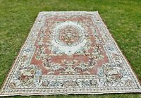 Floral Design Handwoven Area Rug Anatolian Vintage Bohemian Wool Carpet 6x10 ft