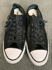 Rare Converse All Star Chuck Taylor Black Shiny Texture W  Size 8 M 6 low top
