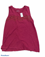 Woman's ANN TAYLOR LOFT Red Tank Top 100% Cotton Sleeveless Size Small S