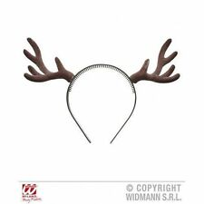 Flocked Reindeer Horns Dark Brown Stag Antlers Christmas fancy dress