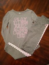 Gap Fit Gap Dry Girls Athletic Top & Yoga Pants Leggings Grey Pink Size L XL