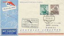 ÖSTERREICH AUA ERSTFLUG 1958 WIEN – LONDON (Stempel-Nr. 3), K2 WIEN 101
