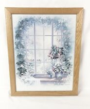 """Andres Orpinas Signed Framed Floral Window Flower 12.75"""" x 15.75"""" Print"""