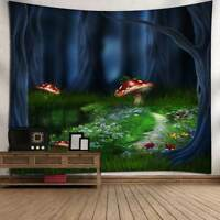 Fantasy Forest Printed Tapestry Wall Hanging Art Mushroom Tapestries Wall Decor