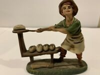 "Vtg Montecatini Italian Figurine,Baker making Bread,3 3/4"" Made in  Italy ."