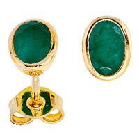 Ohrstecker Ohrschmuck mit Smaragd grün, 585 Gold Gelbgold, oval, Damen Ohrringe