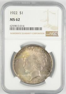 MS62 GRADED - 1922 Peace Silver Dollar- NGC *484