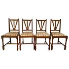 Antique Craftsmen Side Chairs Solid Oak set of Four original finish vinyl seats