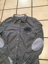 Napapijri Womens Elbow Patch Plaid Embroidered Guyra Button Casual Shirt Sz. XL