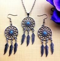 European and American fashion jewelry dream catcher necklace earrings 1 set