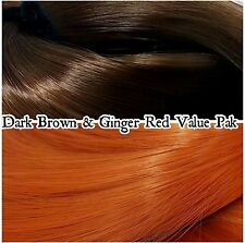 Brown & Ginger Red 2 Color Value Pak Nylon Doll Hair Reroot Barbie Monster High