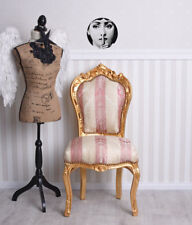 Esszimmerstuhl Barock Stuhl Antik Polsterstuhl Holzstuhl Dining Chair Gold Rose