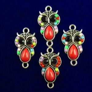 4Pcs 18x12x3mm Red Tibetan Silver Enamel Owl Pendant Bead M76279
