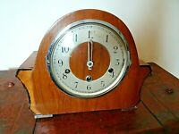 Antique Art Deco 1920's-1930's Mauthe Oak Mantel Clock with Westminster Chime