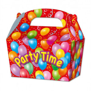 10 Party Time Balloon Card Party Food or Treat Box