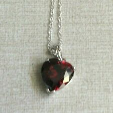 Silver Plated Red Heart Crystal Pendant Necklace Gift New
