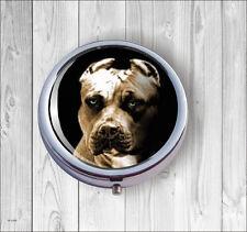 DOG AMERICAN PITBULL #2 PILL BOX ROUND METAL -dfgt5Z