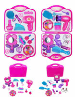 Girls Toy Vanity Beauty Cosmetic Carry Case Box Bag Hair Dryer Make Up Gift Set