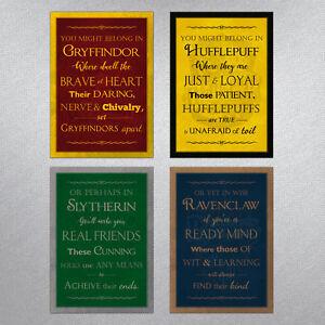 Hogwarts Houses Metal A4 Sign - Harry Potter themed Gift Gryffindor Plaque