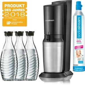 SodaStream Crystal 2.0 Wassersprudler titan mit 3x Glaskaraffen, 1x Co² Zylinder