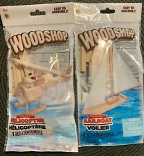 WOODSHOP DIY BOAT & HELICOPTER Build & Play Kits Craft STOCKING STUFFER