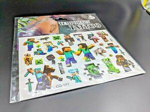 Minecraft Temporary Tattoos Kids Fun Tattoo Creeper Block World Gamer Kit - New