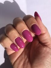 *Hand Painted Press On False Nails Deep Pinky/Purple Short Rounded Shape*