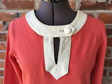 Michael Simon Sweater Top Tunic Leather Trim 3/4-Sleeve Coral White S Keyhole