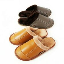 Winter Faux Leather Slippers Fleece Lined Shoes Non-Slip Flat Warm Indoor Unisex