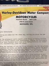 SIGNED ARTHUR DAVIDSON   1935 HARLEY DAVIDSON  CORRESPONDENCE LETTERHEAD