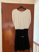 OASIS BLACK AND CREAM PARTY DRESS WITH BLACK BELT SIZE 10