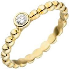 JOBO Damen Ring 56mm Kugel 925 Sterling Silber gold vergoldet 1 Zirkonia Kugelri