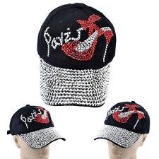 Womens Men's Black Rhinestone Baseball Cap Fashion Bling Adjustable Tennis Hats
