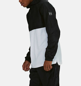 NWT Men's Under Armour UA Wind Anorak Jacket Pullover Black/White XXL MSRP$60 B3