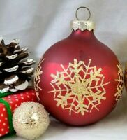 Vintage Christmas Ornament RAUCH Mercury Glass Ball Red Gold MICA Stencil